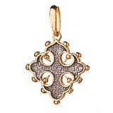 Серебряный крестик с позолотой и чернением Святая Молитва