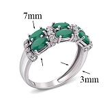 Серебряное кольцо с зелёным агатом Фиолент