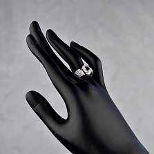 Золотое кольцо Ресияль в белом цвете с фантазийной шинкой, сапфиром и бриллиантами