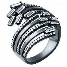 Серебряное кольцо Водоворот любви с фианитами и черным родием