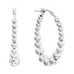 Серебряные серьги-кольца с шариками, 27мм 000136193