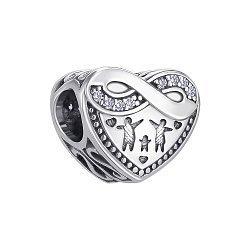 Серебряный шарм-сердце Семья с фианитами 000146000