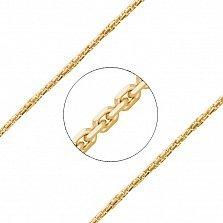 Золотая цепь Тетра в красном цвете плотного якорного плетения, 1мм