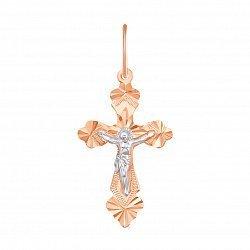 Православный крестик из комбинированного золота с алмазной гранью 000133235
