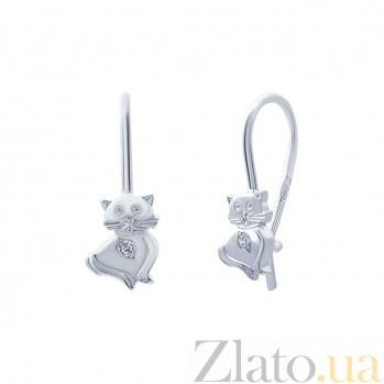 Серебряные серьги с фианитами Котик AQA--С-136