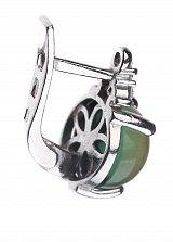 Серебряные серьги Круглая капля с зеленым кварцем и фианитами
