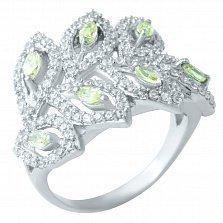 Серебряное кольцо Осенние листья под снегом с цитрином и фианитами