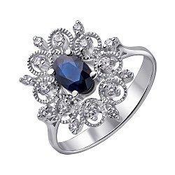 Кольцо из белого золота с сапфиром и бриллиантами 000147926