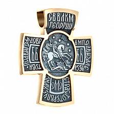 Серебряный декоративный крест в позолоте с чернением Архангел