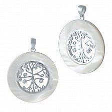 Серебряная подвеска Древо жизни в кольце с перламутровым покрытием и фианитами
