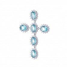 Серебряный крест Эльбрус с фианитами