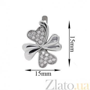 Серебряные серьги с фианитами Клевер AUR--72851б