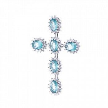 Серебряный крест с фианитами 000038834