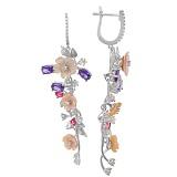 Серьги из серебра Цветы