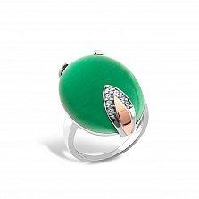 Серебряное кольцо Феодосия с золотой накладкой, зеленым улекситом и фианитами
