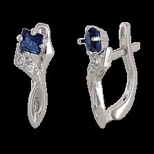 Серебряные сережки с синими фианитами Жаклин