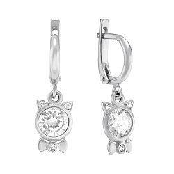 Серебряные серьги-подвески Хрустальные котята с белыми фианитами
