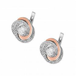 Серебряные серьги Богема с золотыми накладками и фианитами