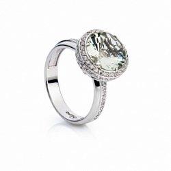 Серебряное кольцо с зеленым кварцем Мэри