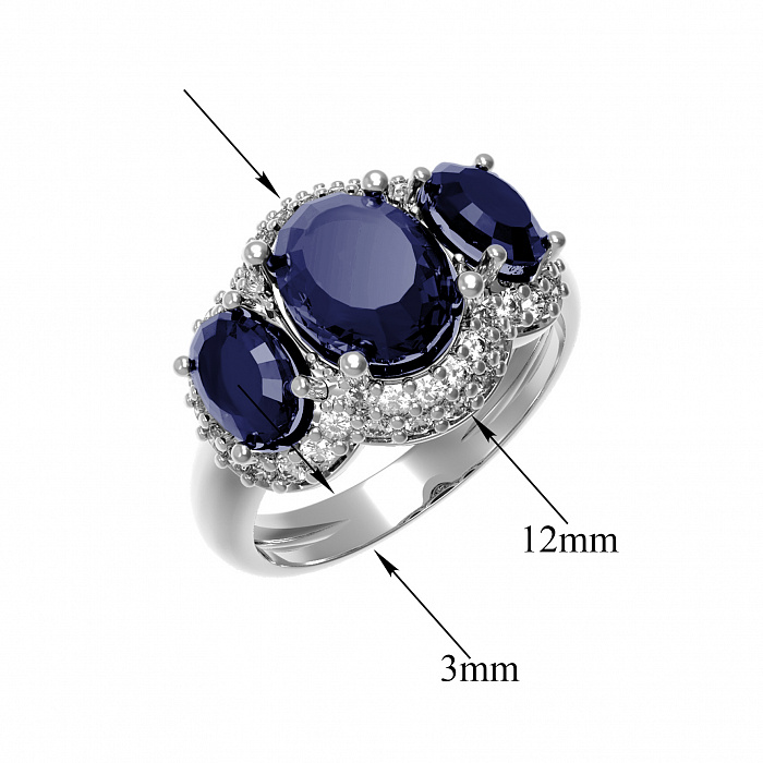 Серебряное кольцо Аврора с наносапфиром и фианитами 000079669