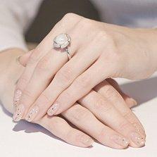 Серебряное кольцо с жемчужиной и фианитами Цисус