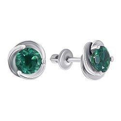 Серебряные пуссеты с зеленым кварцем 000008091
