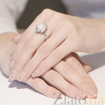 Серебряное кольцо с жемчужиной и фианитами Цисус 1363/9р жем