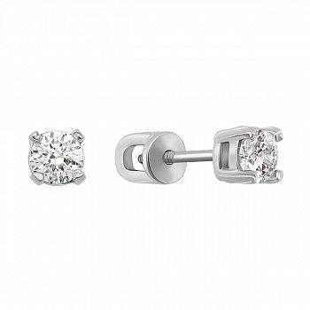 Серебряные серьги-пуссеты с фианитами 000125234