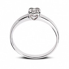 Кольцо в белом золоте Желание сердца с бриллиантом