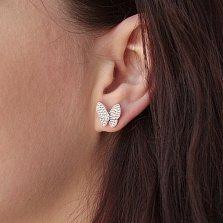 Серебряные серьги-пуссеты Смелые бабочки с белыми фианитами в стиле Ван Клиф
