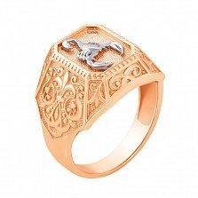 Перстень-печатка в комбинированном цвете золота с родированием 000133187