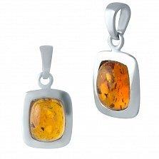 Серебряная подвеска Корнелия с завальцованным янтарем