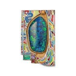 Серебряная брошь-подвес Сказочные узоры с опалом, миксом камней, позолотой и эмалью