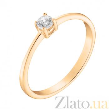 Помолвочное кольцо Ответ с фианитом в красном золоте 000023225