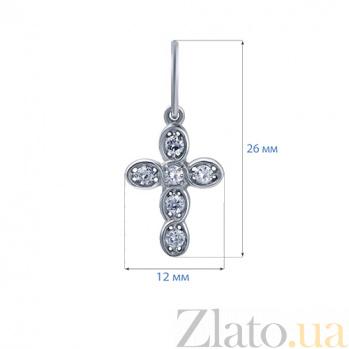 Крест серебряный с фианитами Благословение AQA--3396