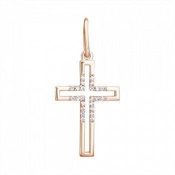 Декоративный крестик из красного золота с фианитами 000098713
