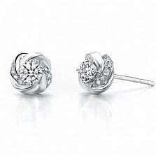 Серьги-пуссеты Дикая роза в белом золоте с бриллиантами, 0,28ct