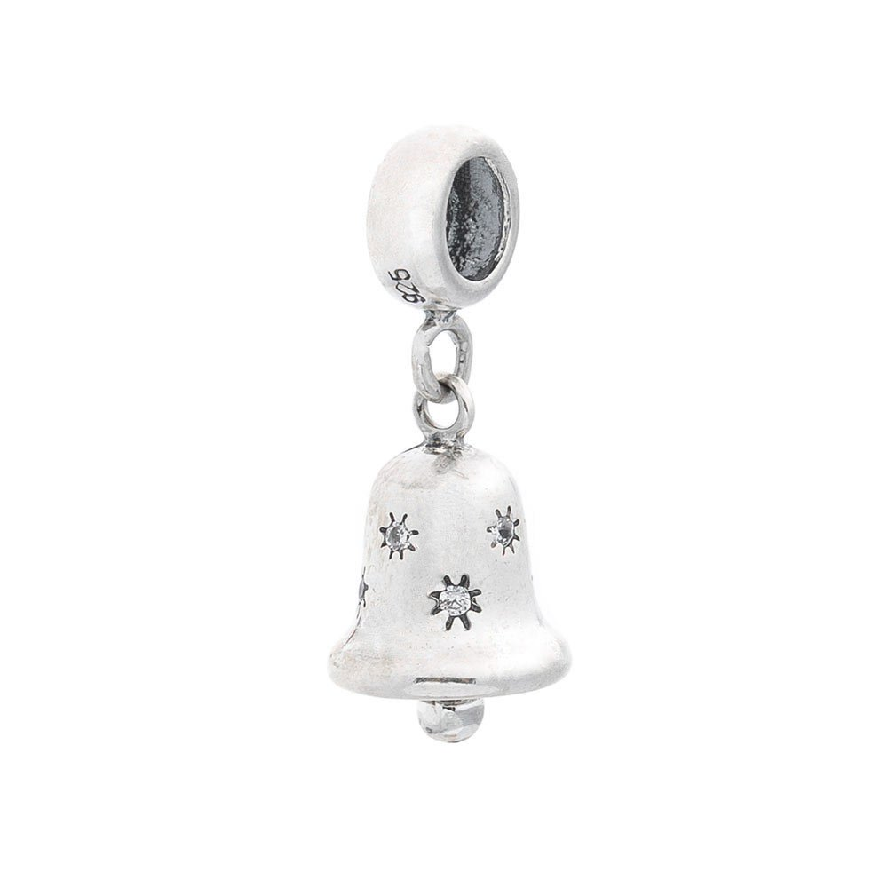 Серебряный шарм Колокольчик с кристаллами циркония