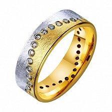 Золотое обручальное кольцо Река любви с фианитами