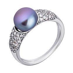 Серебряное кольцо Гармония с черным жемчугом и фианитами