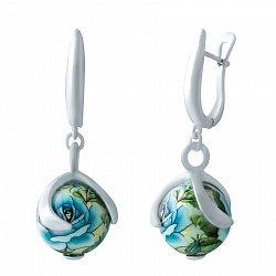 Серебряные серьги-подвески Голубая роза с разноцветной эмалью 000068956