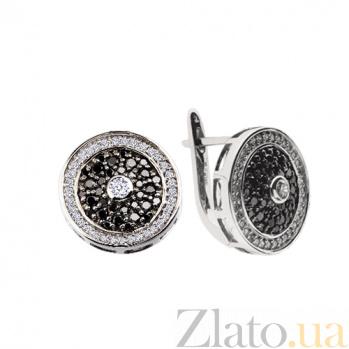 Серьги с черными бриллиантами Тайная встреча KBL--С2188/бел/брил
