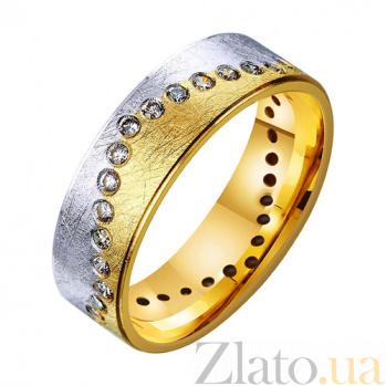 Золотое обручальное кольцо Река любви с фианитами TRF--432401