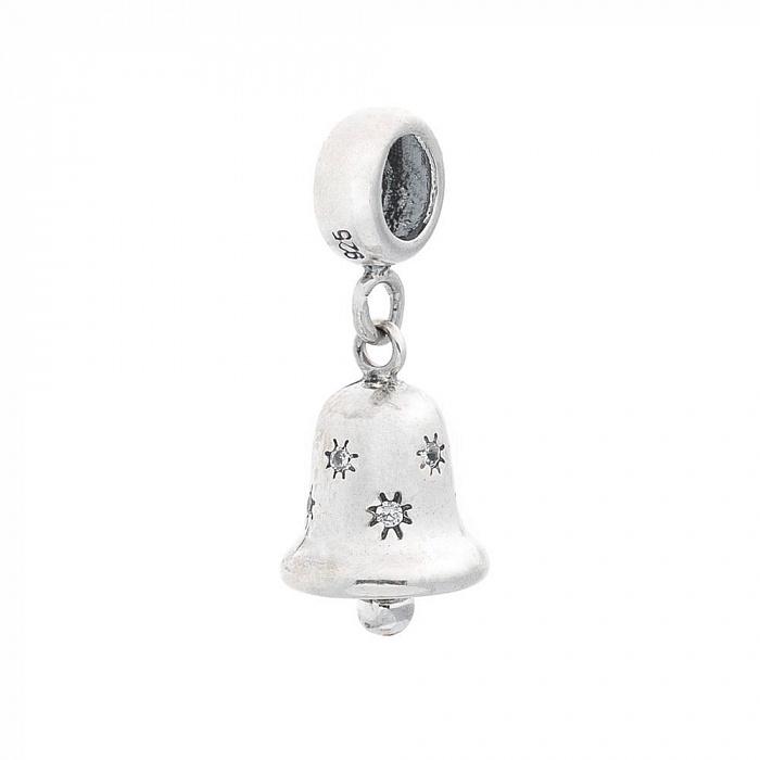 Серебряный шарм Колокольчик с кристаллами циркония 000069864