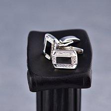 Серебряные запонки Элтон с черной эмалью и фианитами