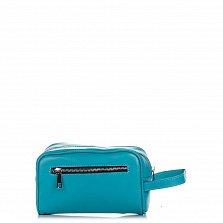 Кожаный клатч Genuine Leather 7724 бирюзового цвета с карманом на тыльной стороне