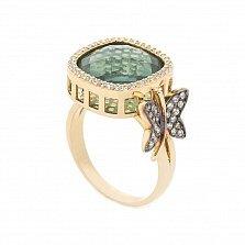 Золотое кольцо Блестящая бабочка в желтом цвете с зеленым и белыми фианитами