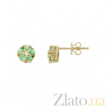 Золотые серьги с изумрудами и бриллиантами Фая 1С193-0439