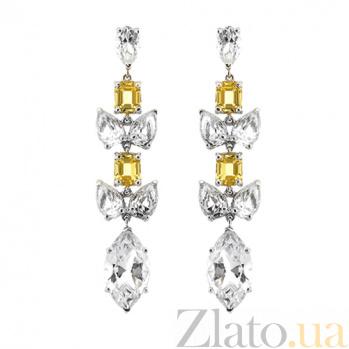 Золотые серьги с топазами и цитринами Маркиз 000029614