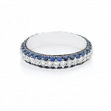 Кольцо из белого золота Делайла с сапфирами и бриллиантами